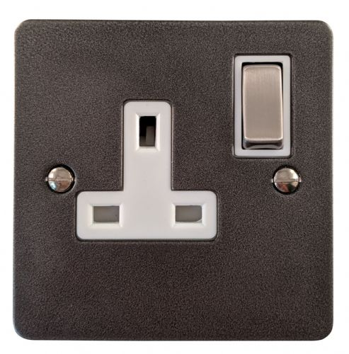 G&H FP209 Flat Plate Pewter 1 Gang Single 13A Switched Plug Socket